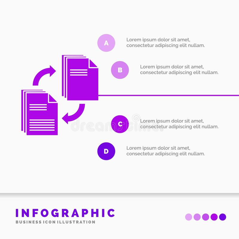 Sharing, share, file, document, copying Infographics Template for Website and Presentation. GLyph Purple icon infographic style. Vector illustration.. Vector royalty free illustration