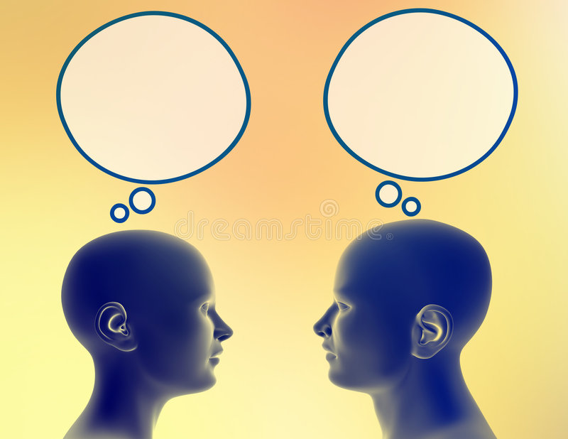 Sharing their thoughts. Woman and man share different thoughts. Just add your text or image to the bubble royalty free illustration