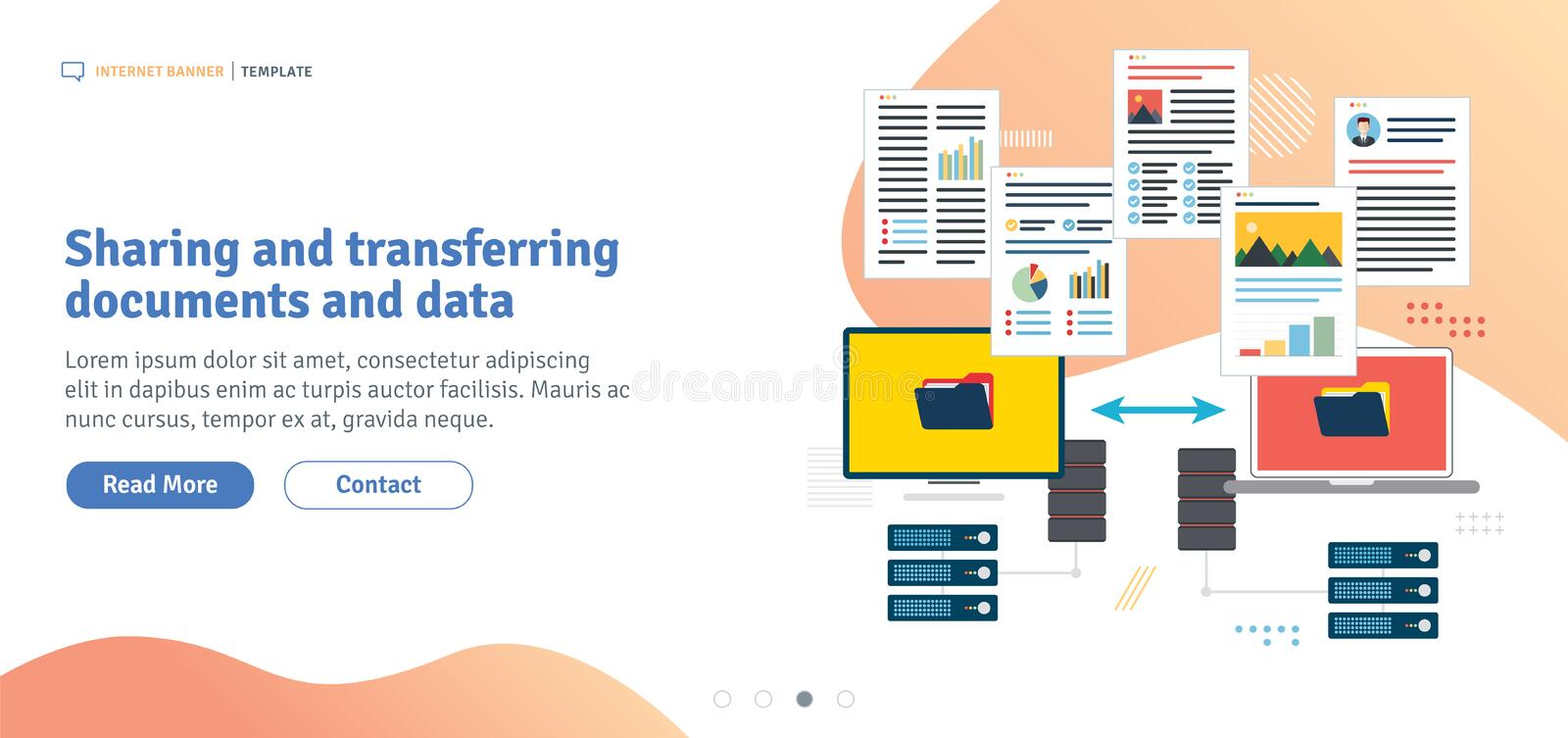 Sharing and transferring documents and data stock illustration