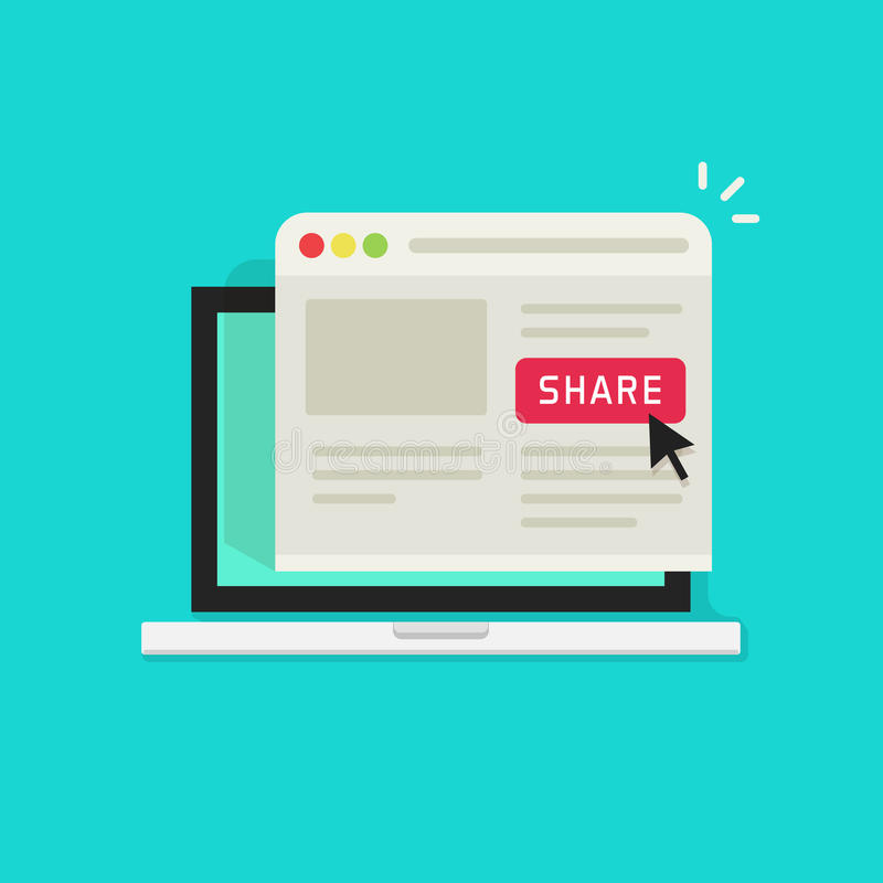 Sharing website page via share button on browser window in laptop computer screen vector illustration flat cartoon vector illustration