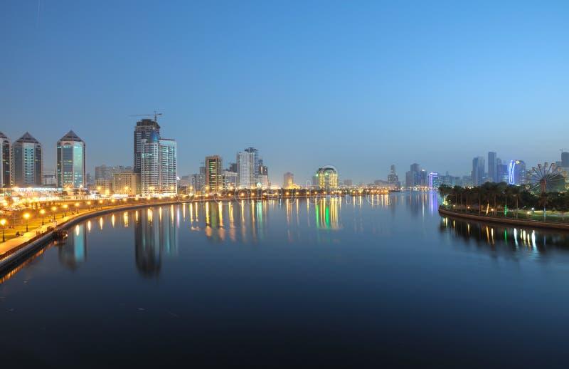 Download Sharjah City at night stock image. Image of park, creek - 13091621