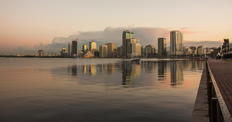 Sharjah corniche. In the morning light royalty free stock photography