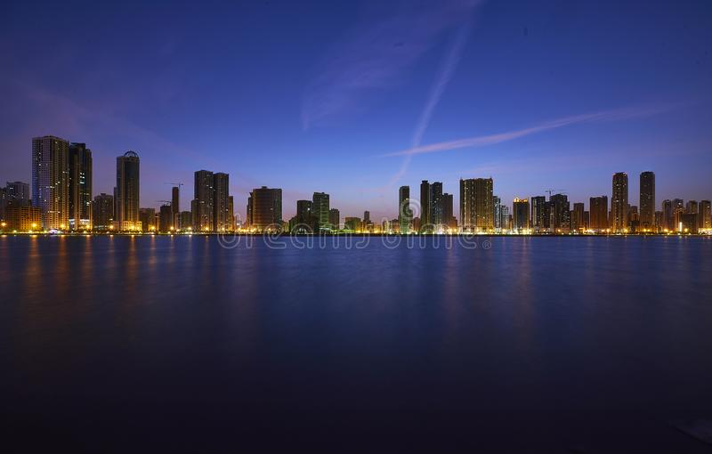 Sharjah corniche. Taken from Sharjah corniche, Early morning shot.nAmazing shot from sharjah corniche royalty free stock image