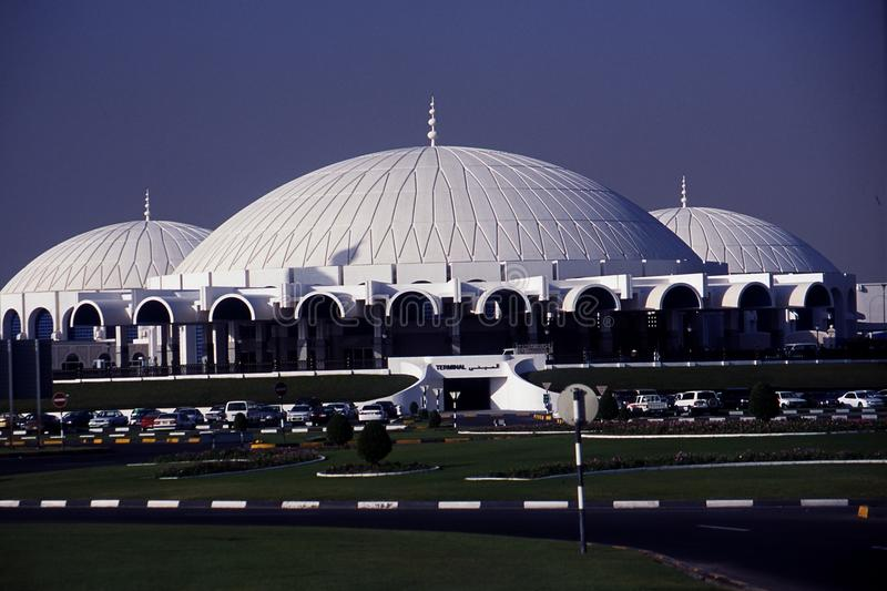 Sharjah International Airport. IATA: SHJ is an airport located 7 nautical miles 13 km; 8.1 mi[1] east south east of Sharjah, United Arab Emirates. It is spread royalty free stock photography