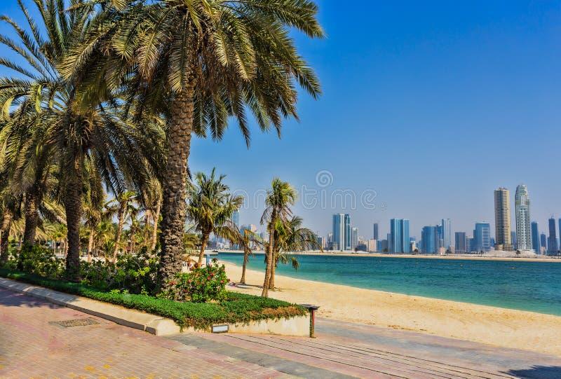 Sharjah - tredje - störst och mest tätbefolkad stad i UAE fotografering för bildbyråer