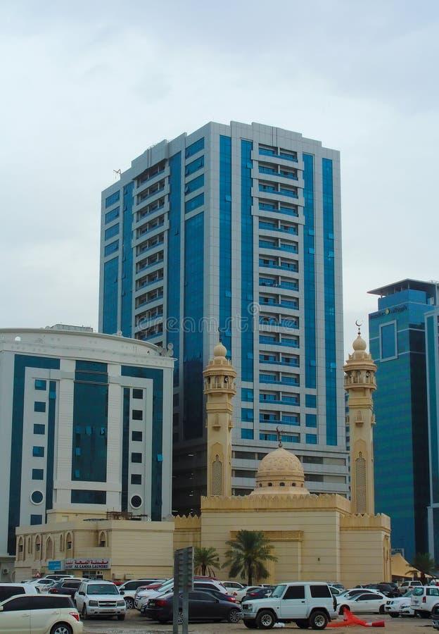 Sharjah, United Arab Emirates: Al Ekhlas Mosque, Al Khan. SHARJAH, UNITED ARAB EMIRATES - March 25, 2017: Al Ekhlas Mosque, Al Khan stock photo
