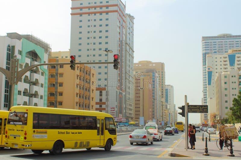 Street of Sharjah, United Arab Emirates. SHARJAH, UNITED ARAB EMIRATES - March 19, 2017: Street of Sharjah stock photography