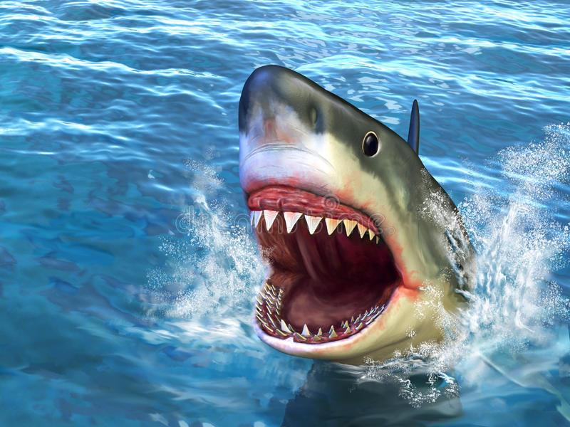 Shark attack. Great white shark jumping out of water with its open mouth. Digital illustration