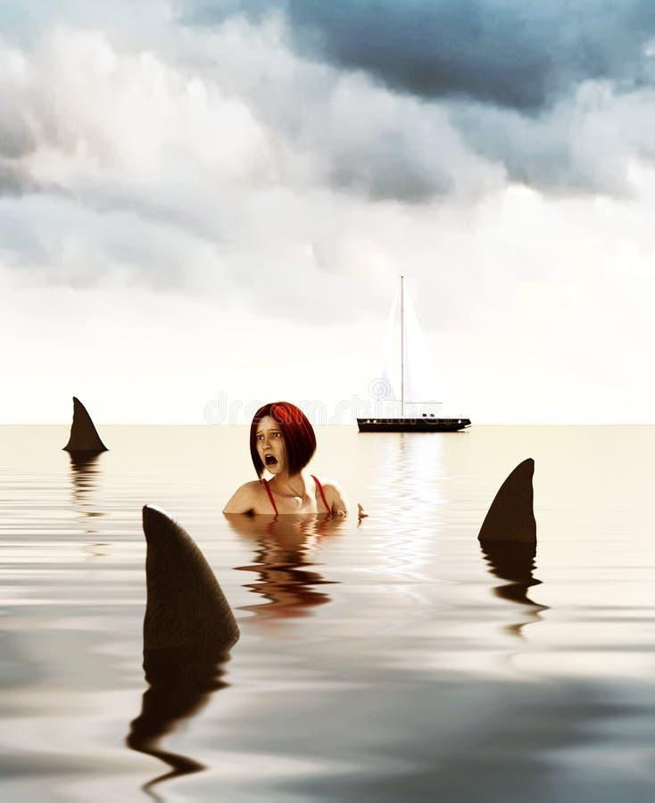 Shark attack stock illustration