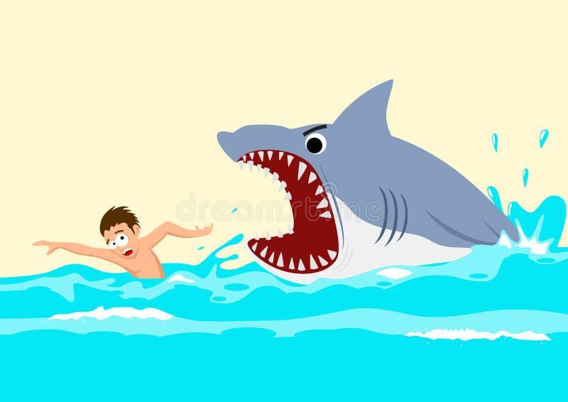 Shark Attacks. Cartoon illustration of a man avoiding shark attacks vector illustration