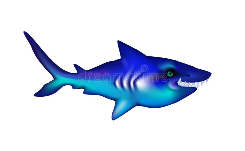 Shark with big teeth. Cartoon blue funny isolated character. Ocean and Sea for design, web, ui, advertising food sea. Vector. Illustration Eps 10 royalty free illustration