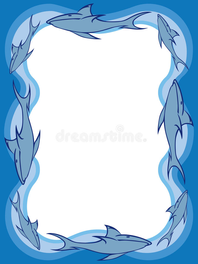 Shark Border 2. Stylized sharks and water surrounding rectangular area with room for copy stock illustration