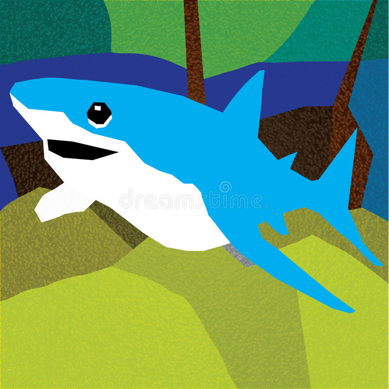 Shark at the bottom on a background of the sunken ship stock illustration
