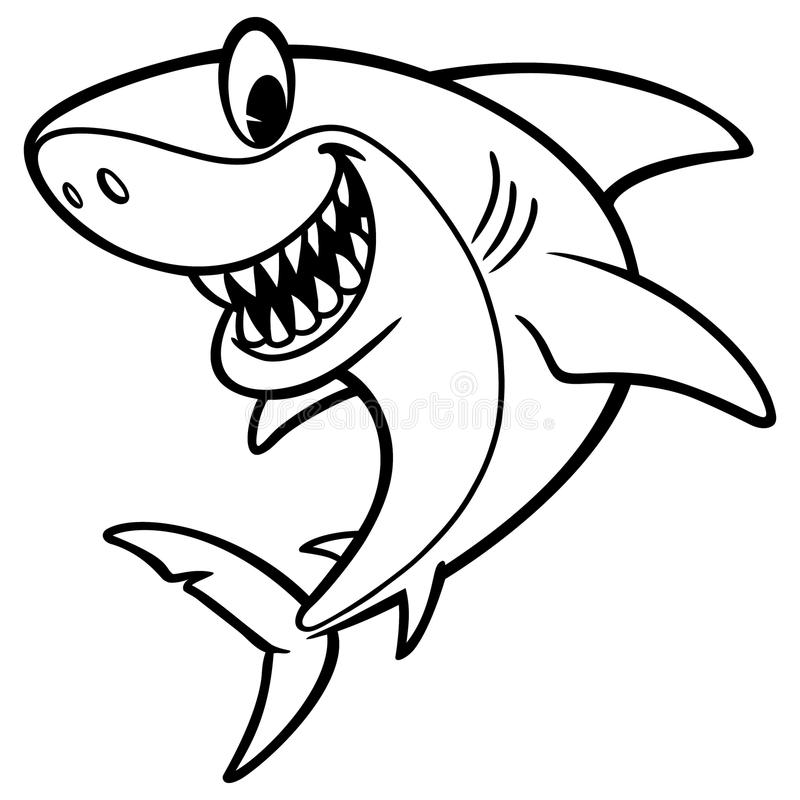 Download Shark Cartoon Drawing stock vector. Image of illustration - 83701189