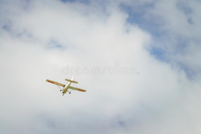 Shark coastline patrol plane. Flying above South Australian beaches stock images