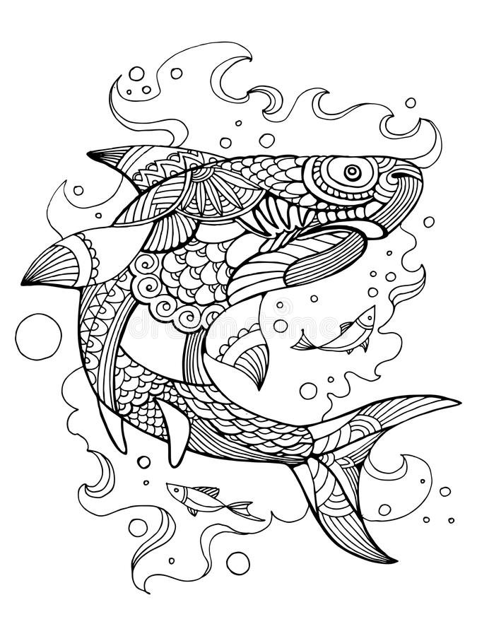 download shark coloring book for adults vector stock vector image 80183589 - Shark Coloring Book