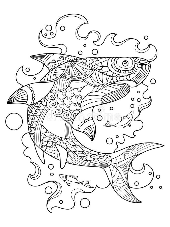 Shark Coloring Book For Adults Vector Stock Vector - Illustration of ...
