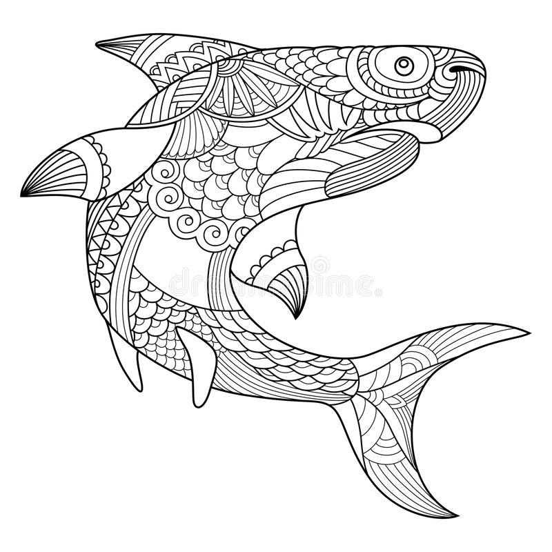 Shark coloring book for adults vector. Illustration. Anti-stress coloring for adult. Tattoo stencil. Zentangle style. Black and white lines. Lace pattern royalty free illustration