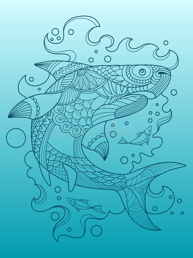Download Shark Coloring Book For Adults Vector Stock