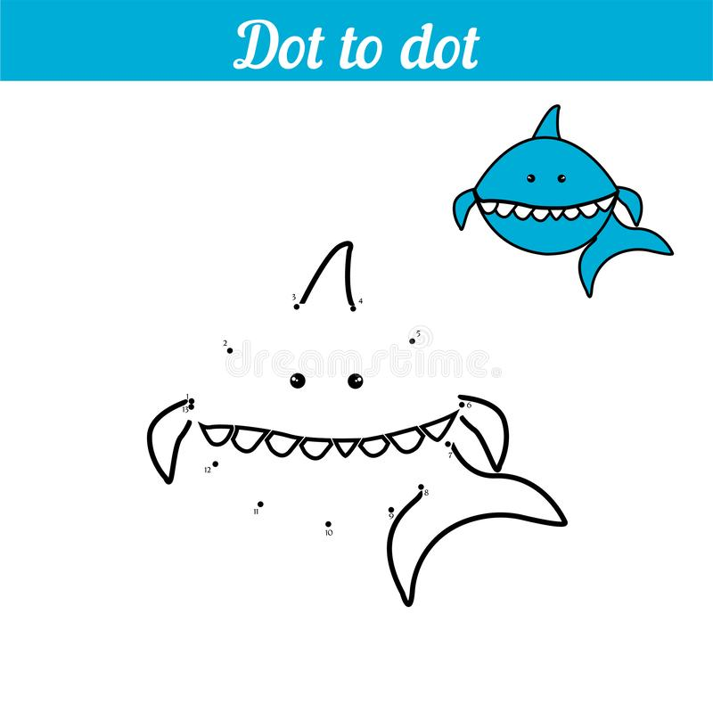 Shark. Coloring - game by numbers. Connect the dots. Educational card for preschoolers. Sea page with funny cartoon vector illustration