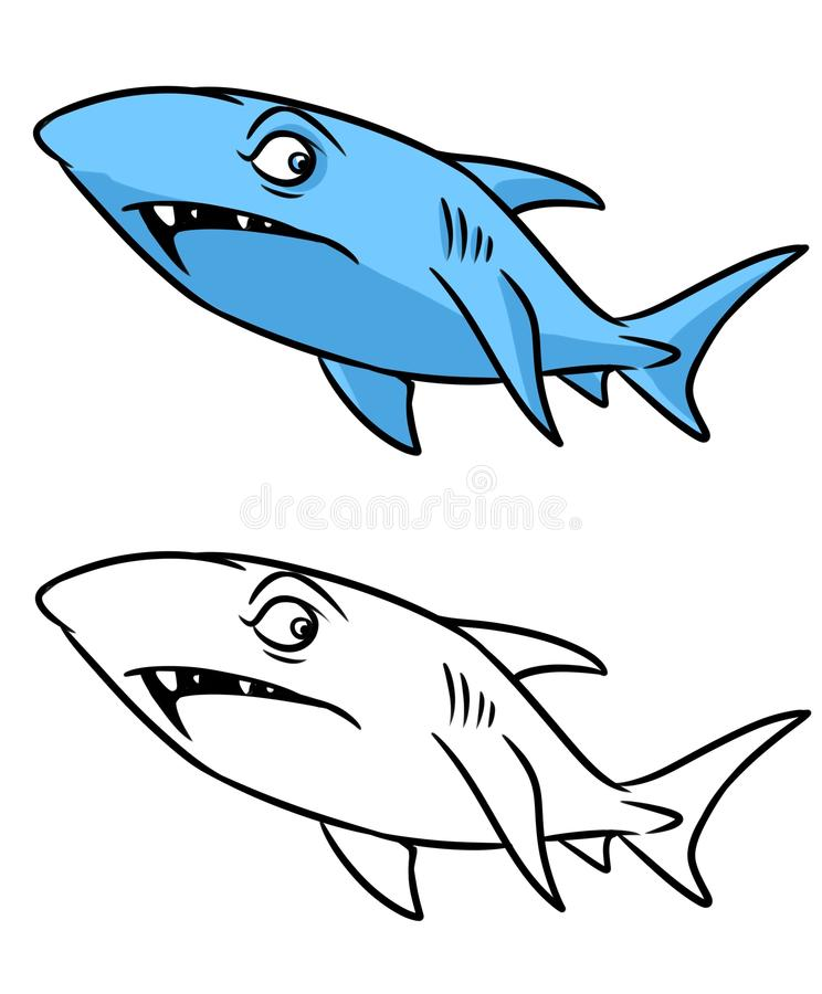 download shark coloring page cartoon illustration stock illustration illustration of predator fish 53490339
