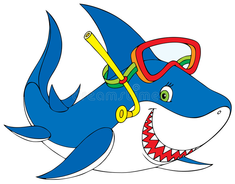 Download Shark diver stock vector. Image of mask, childish, seaweed - 6420964