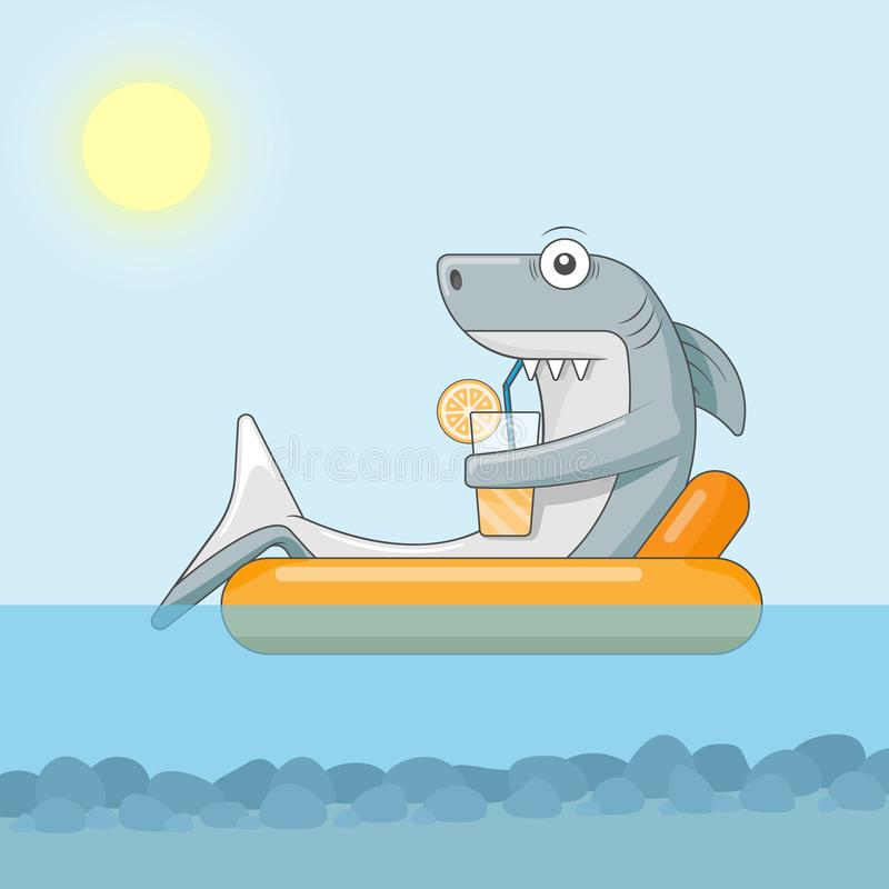 Shark drinks cocktail and floats on air mattress royalty free stock photo