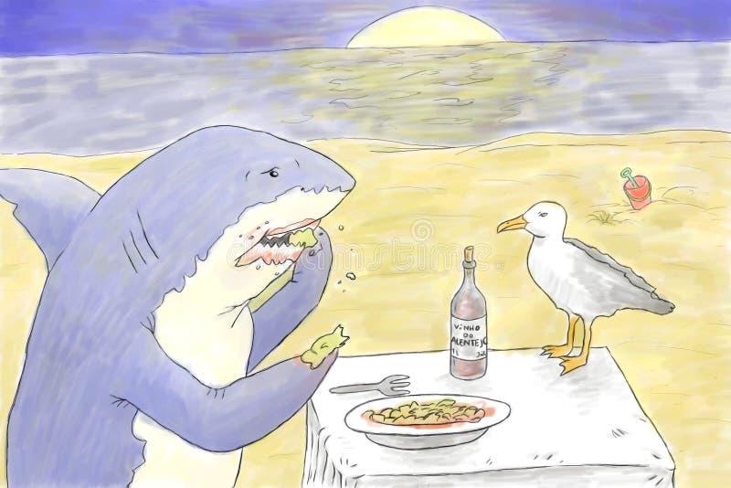 Download Shark eating stock illustration. Illustration of hand - 40046461