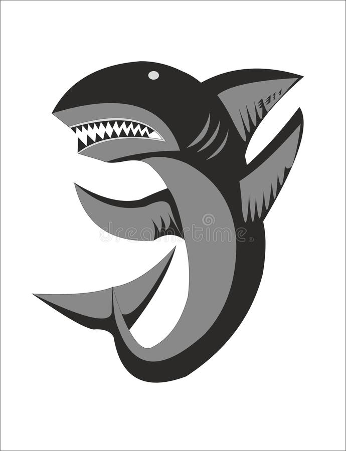 Shark emblem emblem element. Sharks are a cartilaginous fish Chondrichthyes belonging to the subclass of lamellar Elasmobranchii and possessing the following royalty free illustration
