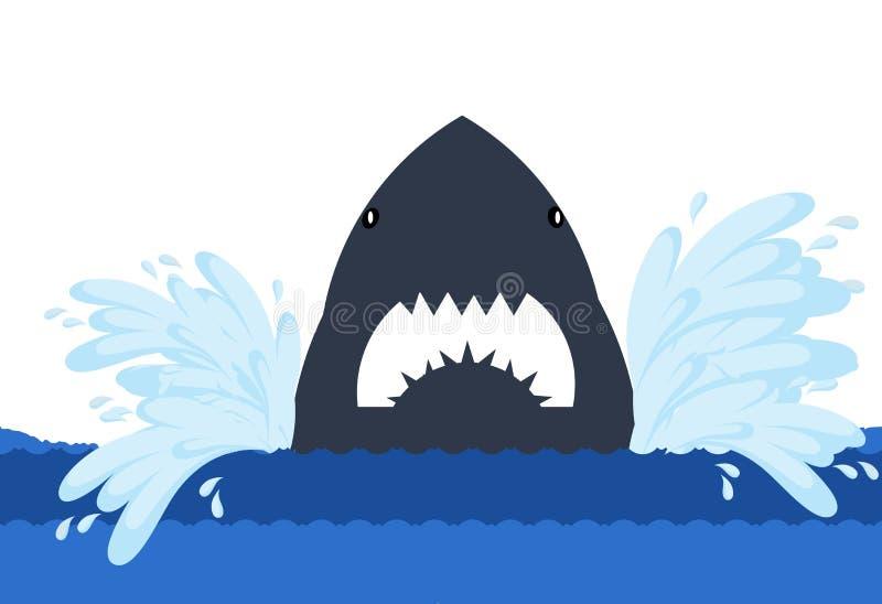 Shark face icon on white background. Illustration design. Cartoon, sea, character, logo, blue, water, cute, big, danger, scary, flat, wallpaper, backdrop stock illustration
