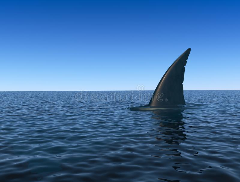 Shark fin over sea water surface. Danger concept. 3D rendering stock illustration