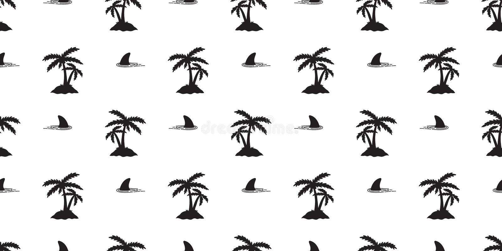 Shark fin seamless pattern dolphin coconut tree isolated whale ocean wave sea island wallpaper background stock illustration