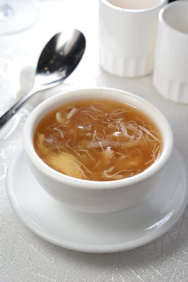 Shark fin soup. Shark fin broth mushroom vegetable soup royalty free stock image