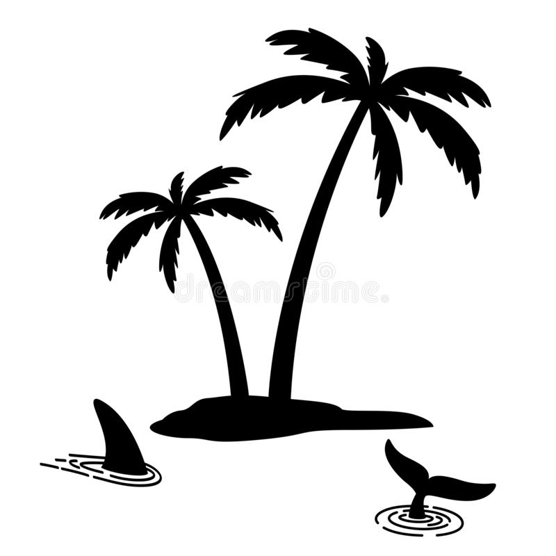Shark fin vector icon island palm tree coconut logo dolphin character illustration symbol graphic. Shark fin vector icon island palm tree coconut logo dolphin royalty free illustration