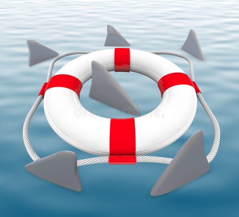 Shark FIns Circling Life Preserver. Several shark fins circle a life preserver vector illustration