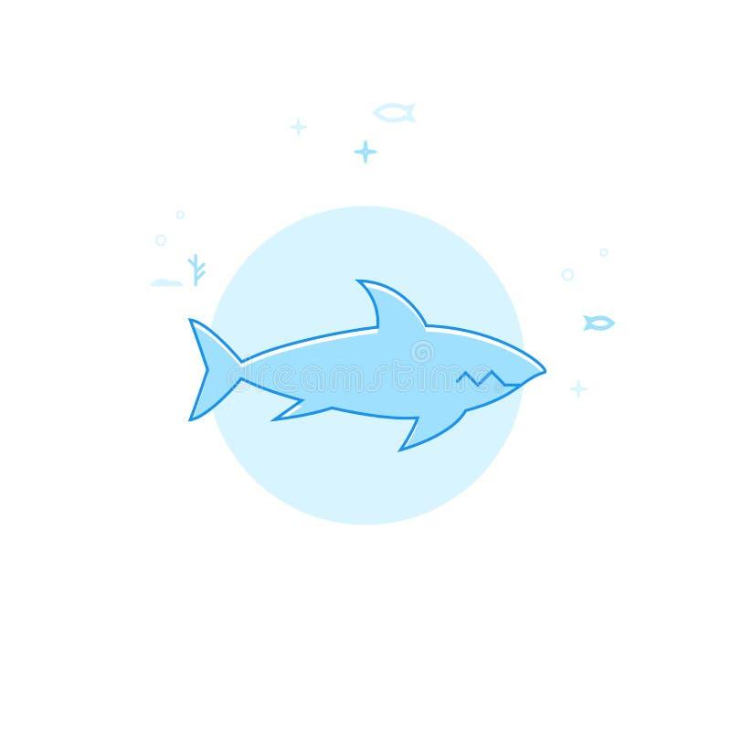 Shark Flat Vector Illustration, Icon. Light Blue Monochrome Design. Editable Stroke vector illustration