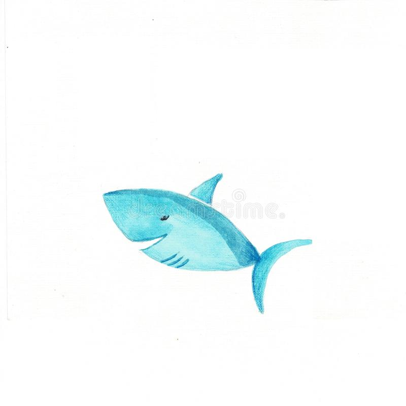 Shark. Without gradients, great for printing. Animals. Watercolor illustration royalty free illustration