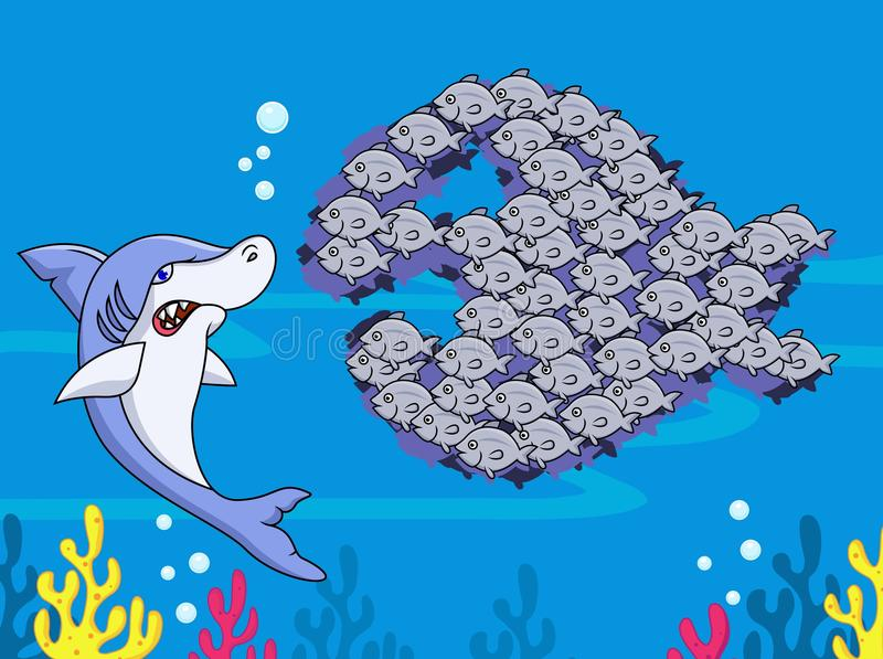 Shark and group of fish