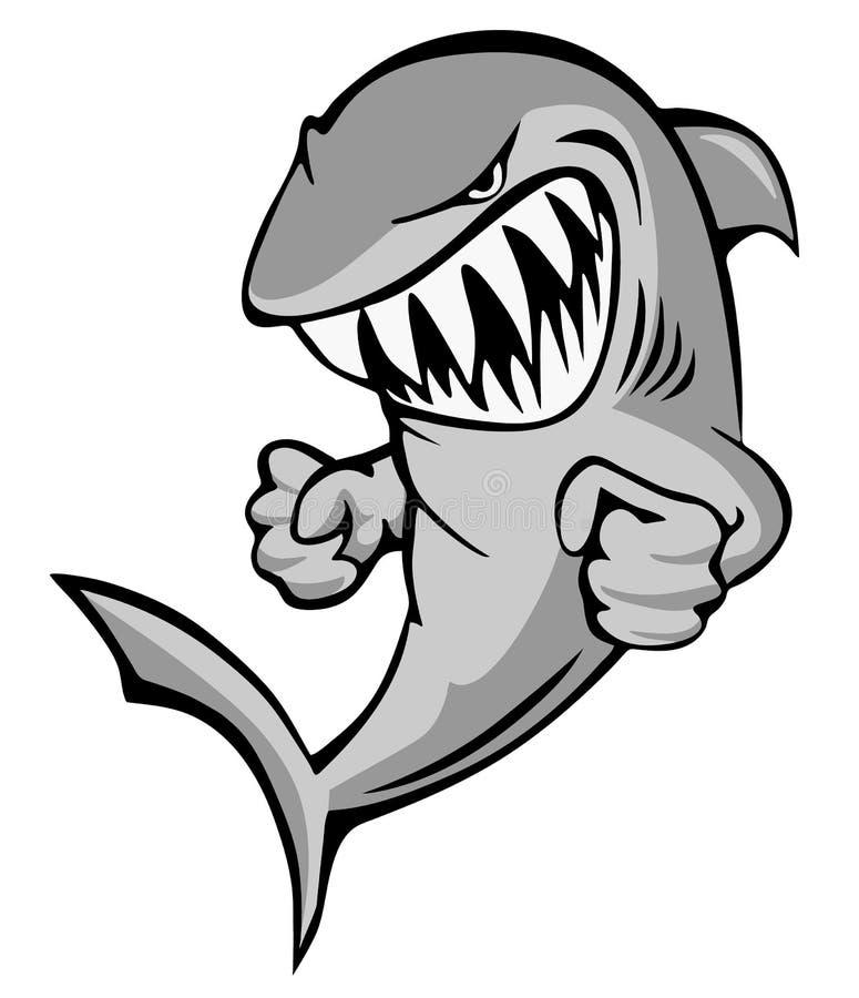 Shark Jumping med Big Grin och Fists Cartoon Isolated Vector Illustration vektor illustrationer