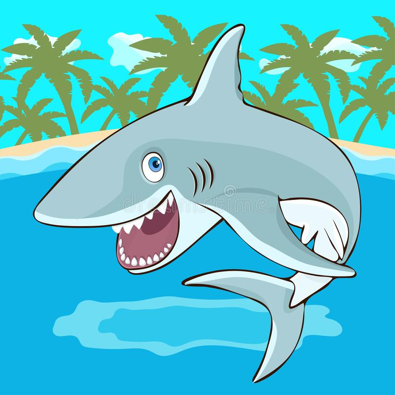 Shark jumps out of the water cartoon character, vector illustration, caricature. Colorful painted cute funny fish shark with open royalty free illustration