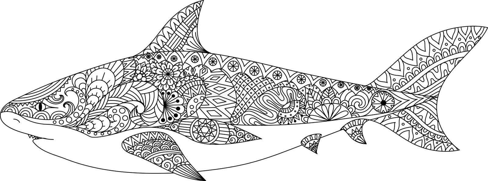 Shark Line Art Design For Coloring Book For Adult, Tattoo, T Shirt ...