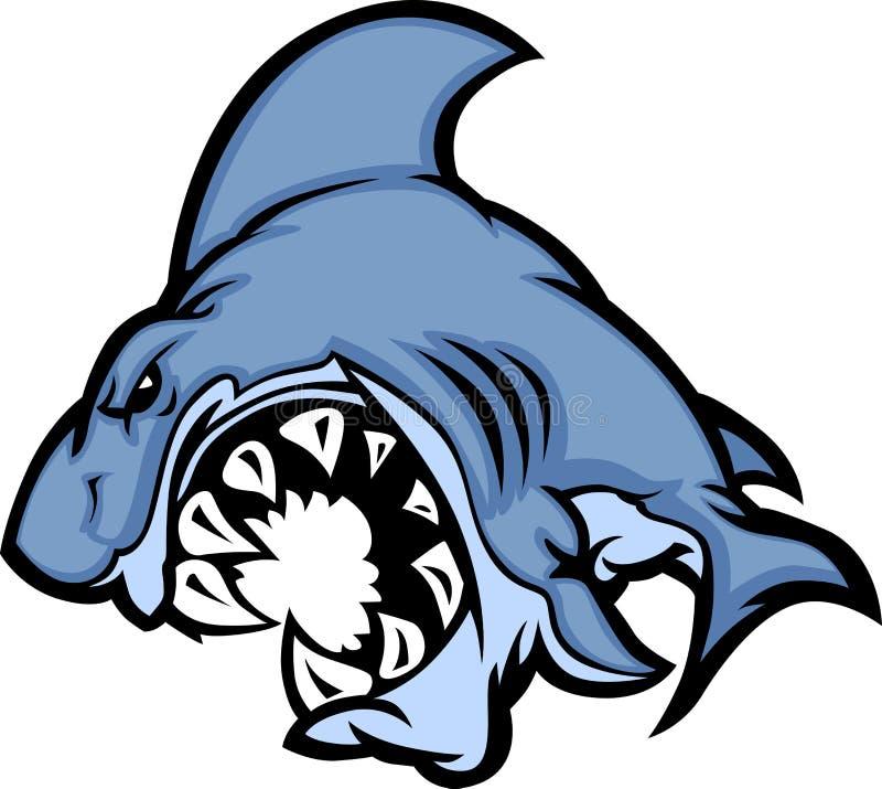 Shark Mascot Cartoon Vector Image. Cartoon Image of a Shark Body with Big Teeth stock illustration