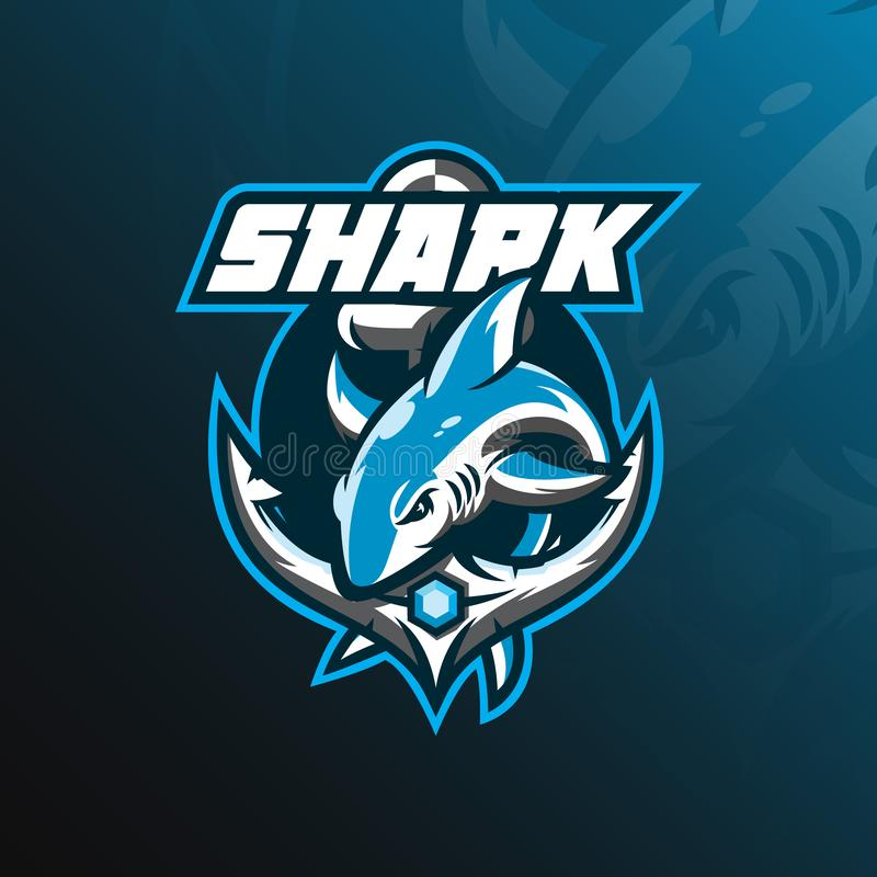 shark mascot logo design vector with modern illustration concept style for badge, emblem and tshirt printing. jumping shark illust stock illustration
