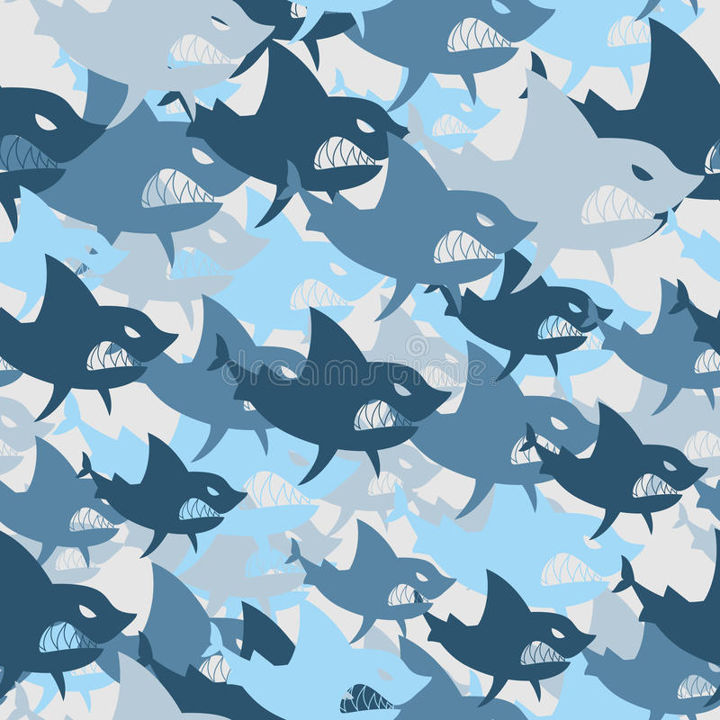 Shark military seamless pattern. Army background of fish. Soldie vector illustration