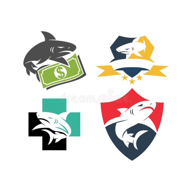 Shark Money Shield Health logo design vector set template. Shark Money Shield Health logo design vector set stock illustration