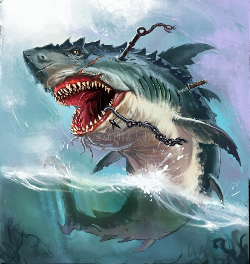 Shark monster. Huge evil monster shark in the open sea stock illustration