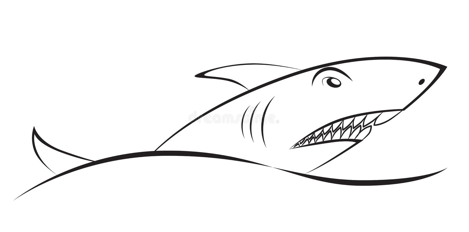 Shark over a wave. Graphic drawing. Element symbol, sign. stock illustration
