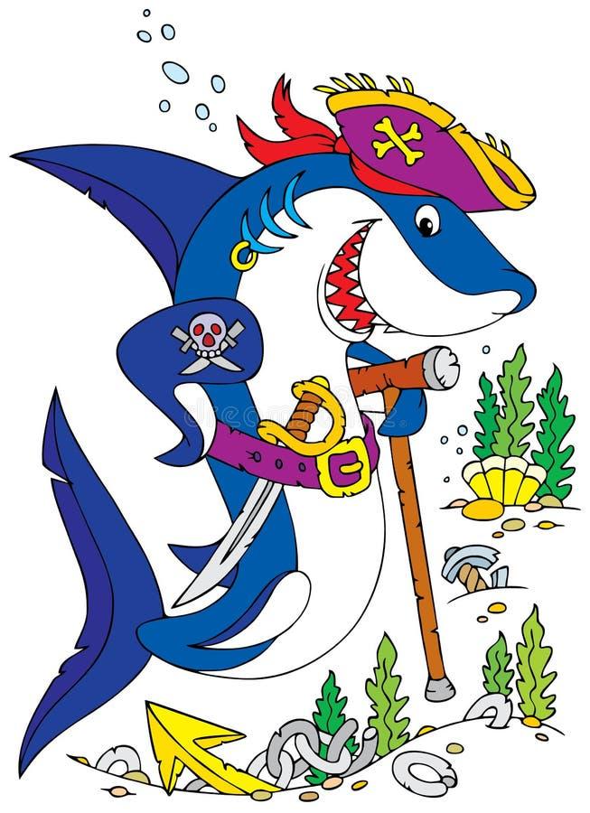Shark Pirate royalty free illustration