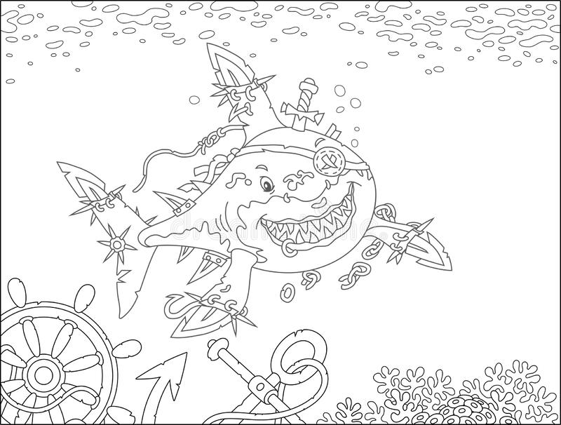 Shark Pirate attacking vector illustration