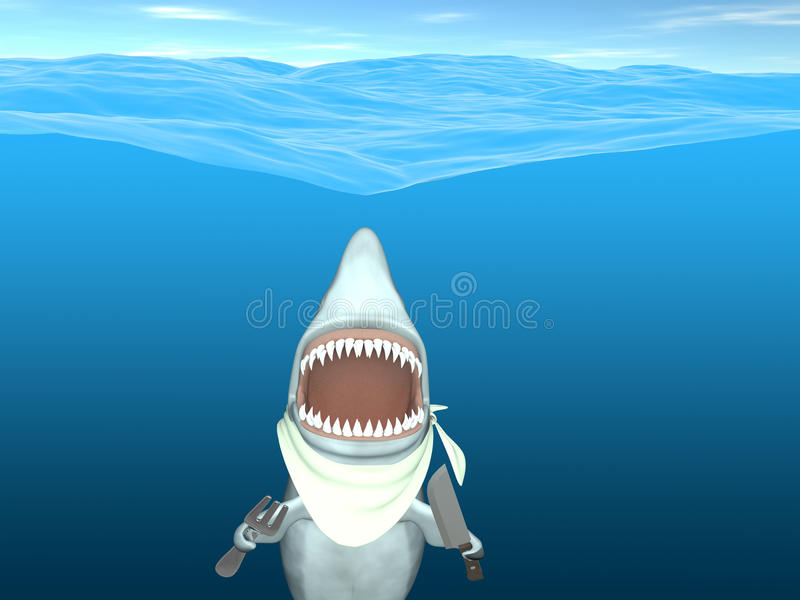 Download Shark - Ready to Eat stock illustration. Image of knife - 24649713